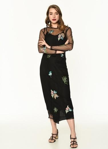 Twist Çift Parça Leopar Nakışlı Elbise Siyah